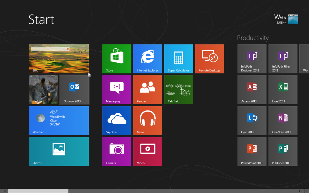 Windows Start screen